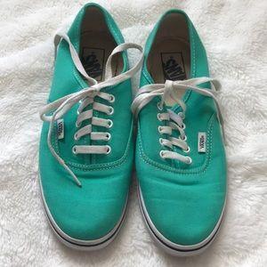 Teal Vans tennis shoes Men's 7 Women's 8.5